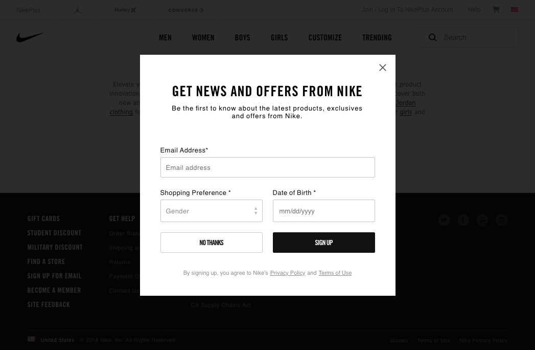 nike email capture
